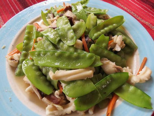 比亞外部落, 桃園縣, 復興鄉, 風味餐, 炒山鮮(大莢豌豆+香菇+魷魚)