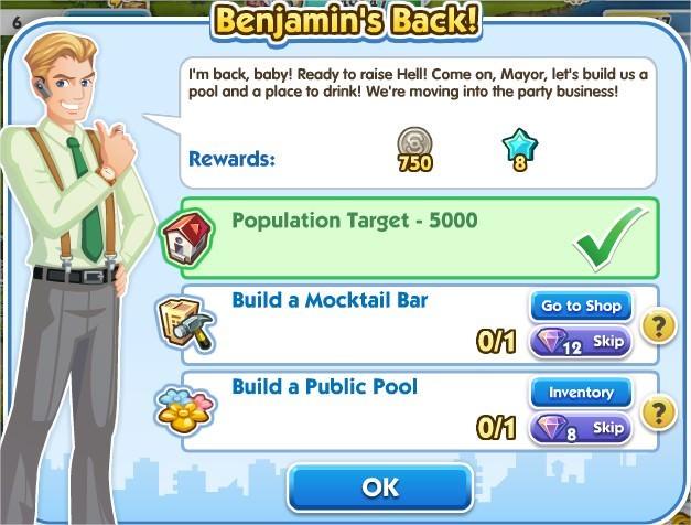 SimCity Social, Benjamin's Back!
