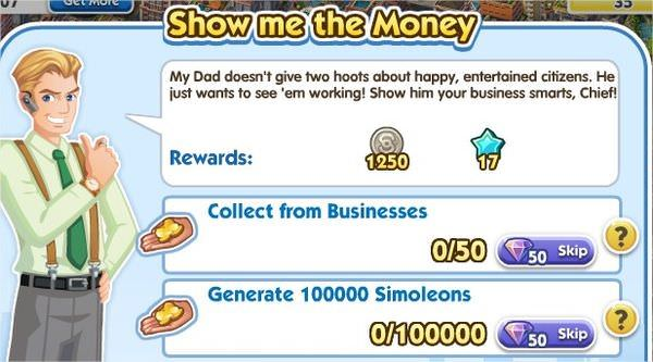 SimCity Social, Show me the Money