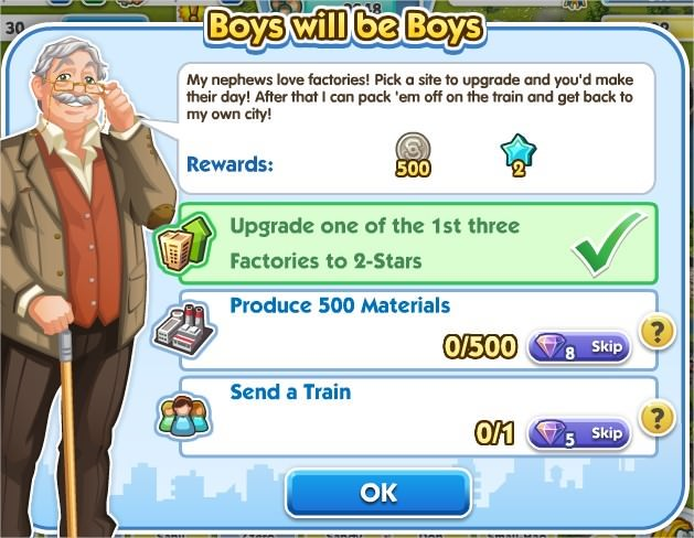 SimCity Social, Boys will be Boys