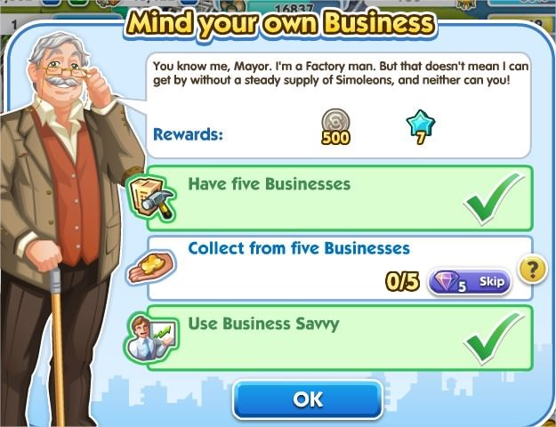 SimCity Social, Mind your own Business