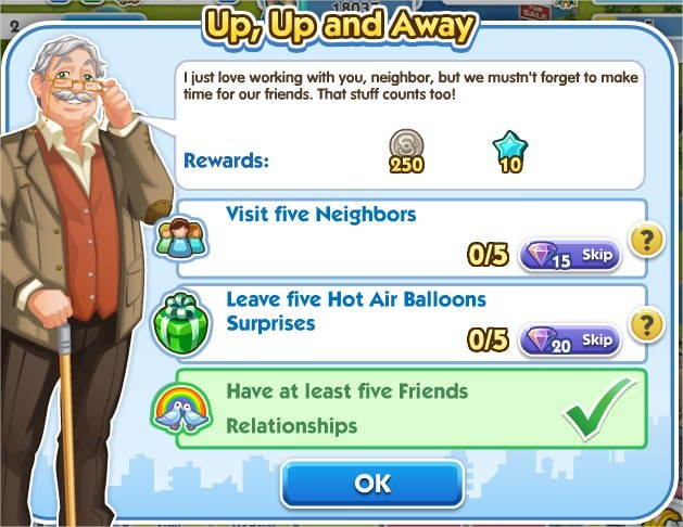 SimCity Social, Up, Up and Away