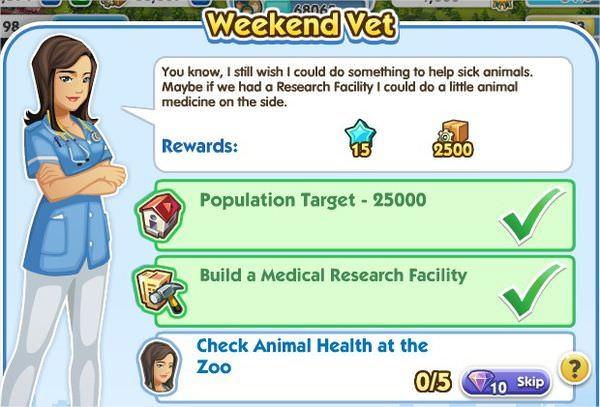 SimCity Social, Weekend Vet