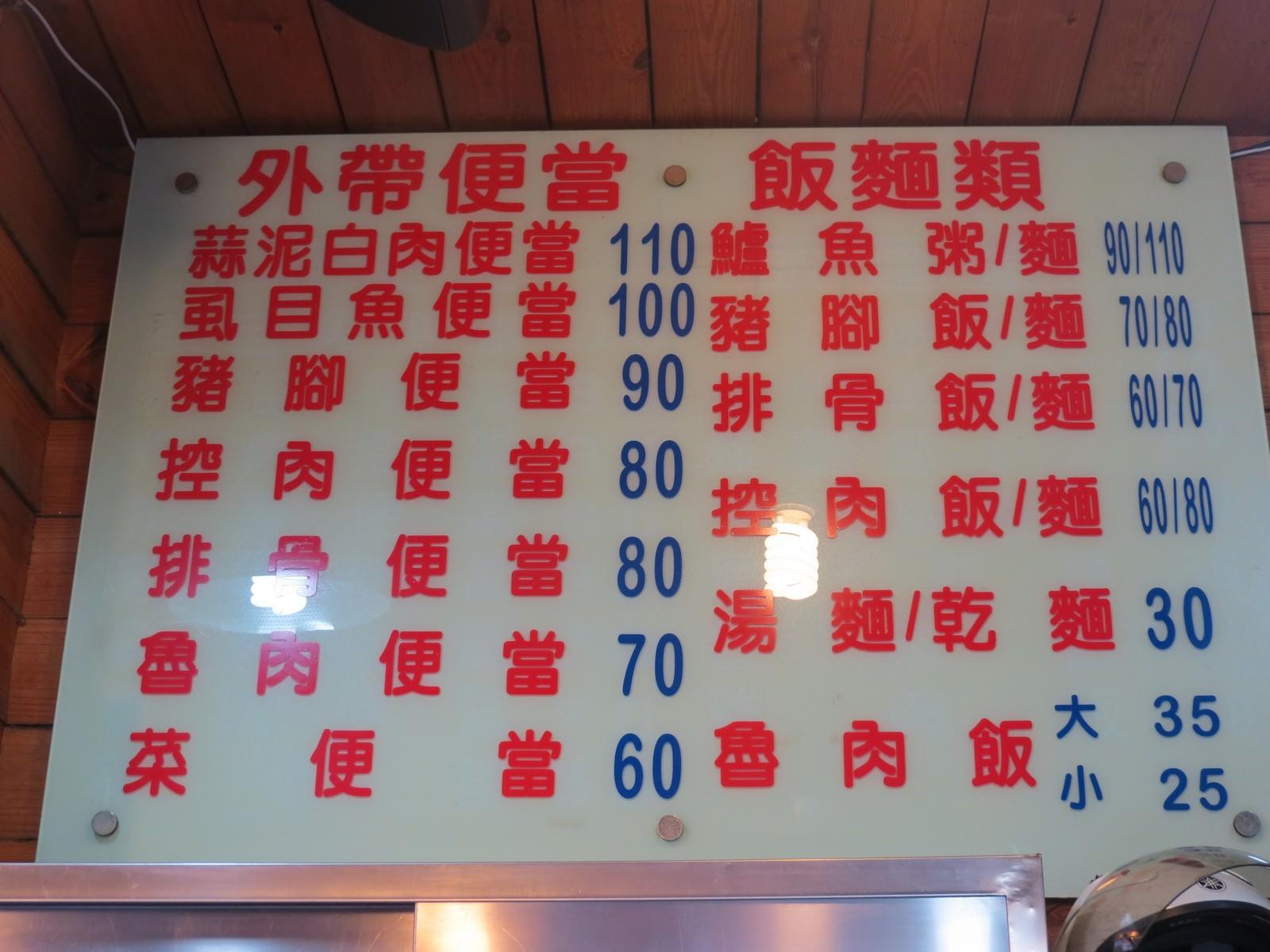 阿鴻知高飯‧鱸魚湯@廣州街夜市, 價目表/MENU