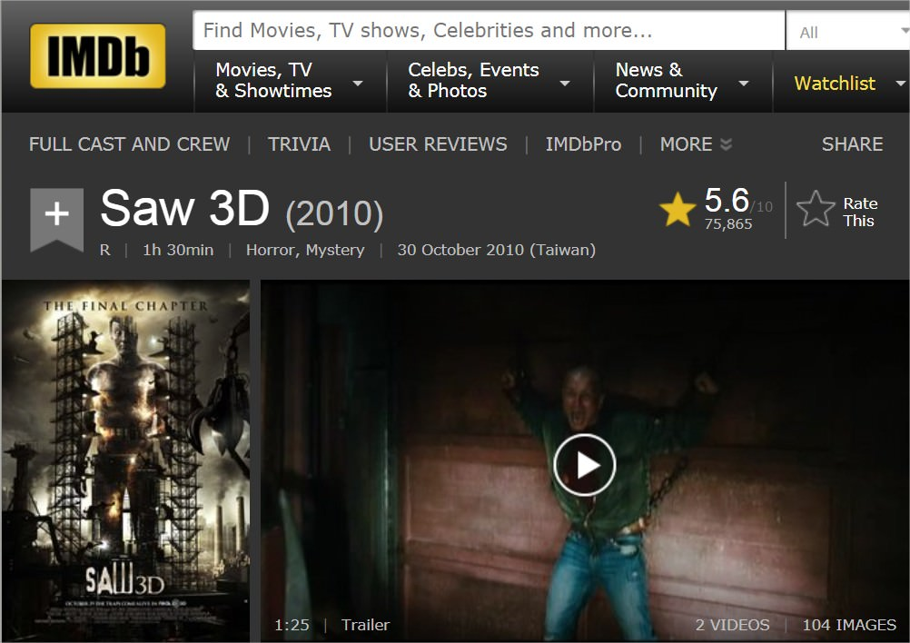Movie, Saw 3D(美國, 2010年) / 奪魂鋸3D(台灣) / 恐懼鬥室3D:終極審判(香港) / 电锯惊魂7(網路), 電影資料庫網站, 角色與演員介紹
